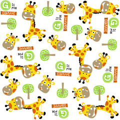 vector cartoon seamless pattern with cute animals. Yellow giraffes and trees