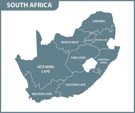 The detailed map of South Africa with regions or states. Administrative division