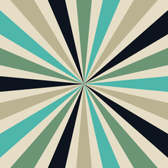 starburst or sunburst background pattern with a vintage color palette of blue green light brown and black in a radial striped design