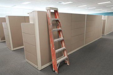 cubicle renovation in the office with ladder