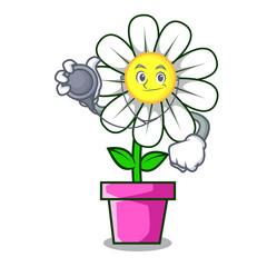 Doctor daisy flower character cartoon