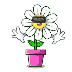 Virtual reality daisy flower mascot cartoon