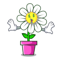 Money eye daisy flower mascot cartoon