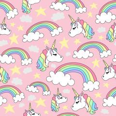 Seamless Pattern of Unicorns and Rainbows on a Pink Background