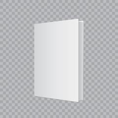 Realistic book mockup on transparent background. Vector illustration