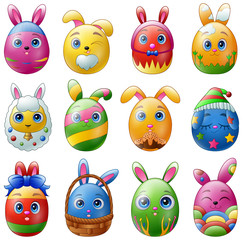 Set of easter eggs cartoon character with bunnies ears isolated on white background