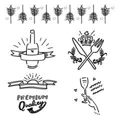 手描き ロゴ ラベル イラスト セット