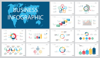 Colorful logistics or marketing concept infographic charts set