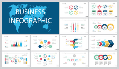Colorful planning or teamwork concept infographic charts set