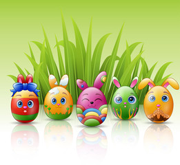 Happy easter eggs cartoon character with bunnies ears and grass background
