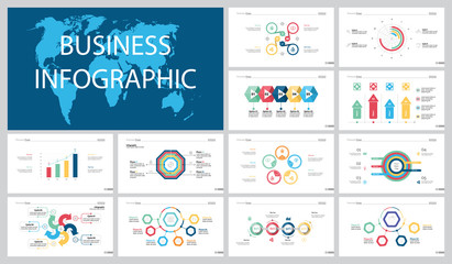 Colorful statistics or strategy concept infographic charts set