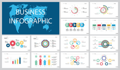 Colorful statistics or workflow concept infographic charts set