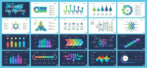 Business infographic diagram slide templates set