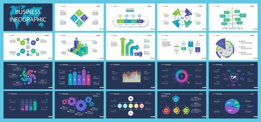 Creative business infographic slide templates set
