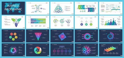 Set of management or statistics concept infographic charts