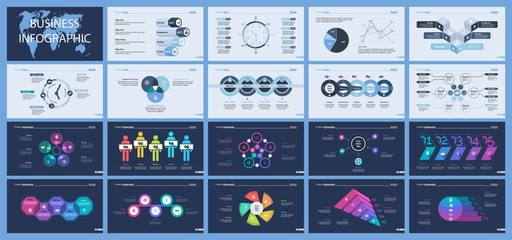 Set of management or teamwork concept infographic charts