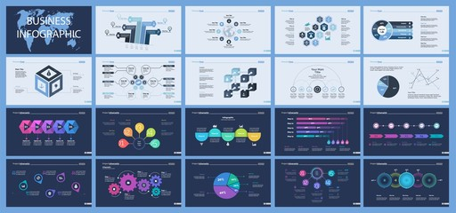 Set of production or logistics concept infographic charts