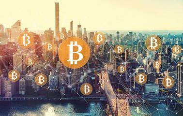 Bitcoin with the New York City skyline near Midtown