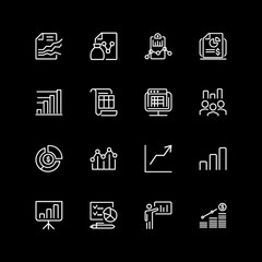 Set of diagram, chart, infographics line icons