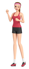 3D illustration character - Runner of a woman is doing a victory pose