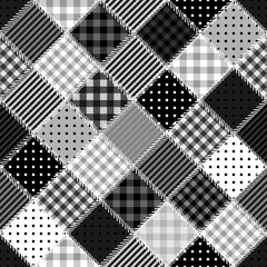 black and white patchwork background with different patterns