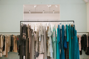 clothes in the store dresses costumes hanger