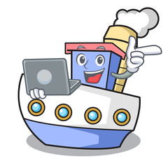 With laptop ship character cartoon style
