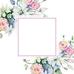 Tender bouquet flowers. Floral botanical flower. Frame border ornament square. Aquarelle wildflower for background, texture, wrapper pattern, frame or border.