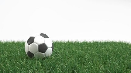 Soccer ball on fresh green grass isolated on white