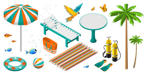 Set of isometric summer beach holiday objects