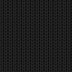 Black knitted fabric texture seamless pattern, vector