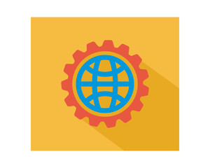 circle globe gear business company office corporate image vector icon logo
