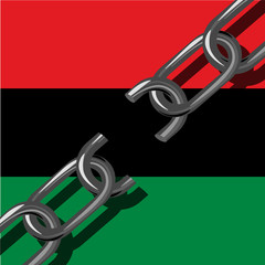 Juneteenth, Freedom Day. African-American Independence Day, June 19. Broken chain. Background - Pan-African flag, UNIA