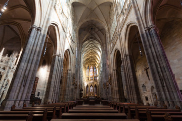 Interior inside St. Vitus Cathedral in Prague