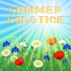 Concept Summer Solstice. Sky, blur, field grass, flower, sun, the lights of a sun. Lettering