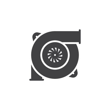 Car turbine vector icon. filled flat sign for mobile concept and web design. Automobile turbo charger simple solid icon. Symbol, logo illustration. Pixel perfect vector graphics