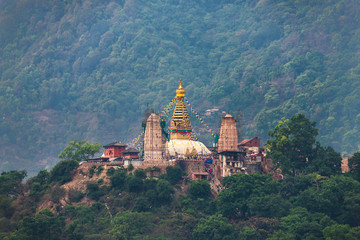 Swayambhunath stupa also called Monkey Temple in Kathmandu, Nepal