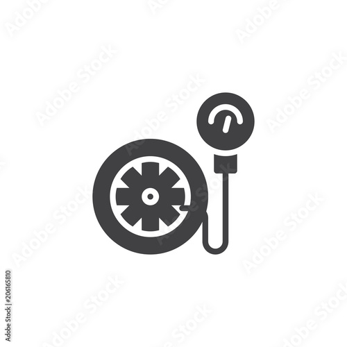 Tire Pressure Gauge Vector Icon Filled Flat Sign For Mobile Concept