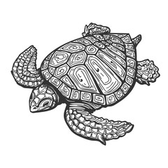 Sea Turtle  Tattoo Illustration