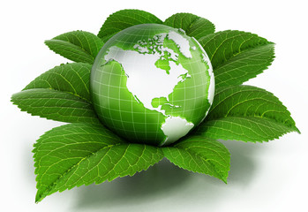 Green globe protected by fresh leaves. 3D illustration