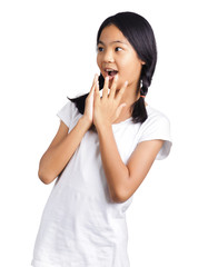 Portrait of a surprised young girl with hands over her mouth isolated on white background