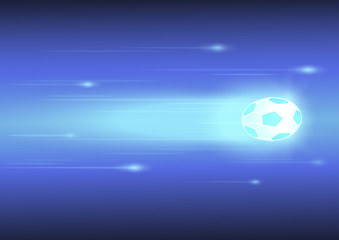 football or soccer ball with glow line on blue background