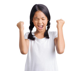 studio portrait of asian girl angry frowns
