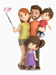 3d render of a family taking selfie on a vacation
