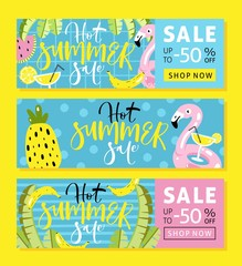 Set of summer sale banner templates with cut flamingo pool float, cocktail, banana leaves, watermelon, pineapple and hand written text.