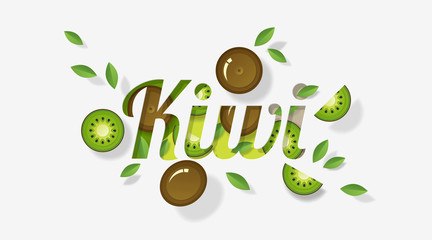 Word kiwi design decorated with kiwi fruits and leaves in paper art style , vector , illustration