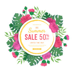 Big summer sale banner with round frame. Flowers and buds of hibiscus, leaves monstera and palm. Tropical exotic template poster design for print or web. Vector discount background.