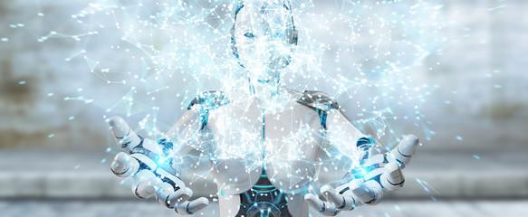 White woman humanoid using digital globe hud interface 3D rendering