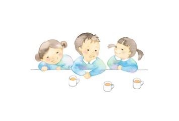 幼児、3人、飲み物