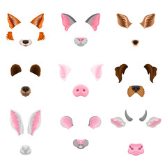 Flat vector set of animal faces - ears and noses. Colorful masks for carnival. Design for selfie photo decor or video chat effects